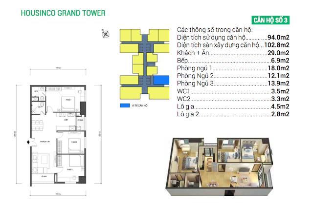 Thiết kế căn số 03 chung cư Housinco Grand Tower
