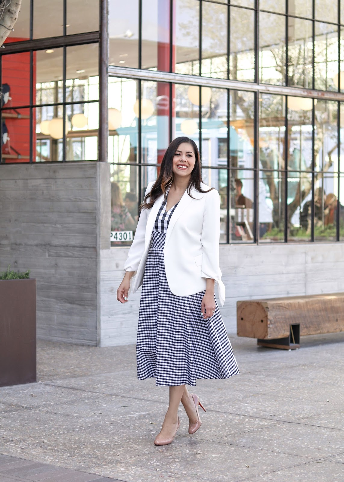 Gingham dress, white blazer with gingham dress