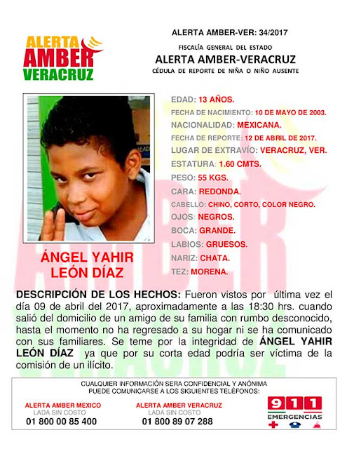 Activan Alerta Amber para Yahir Leon Diaz del Puerto Veracruz