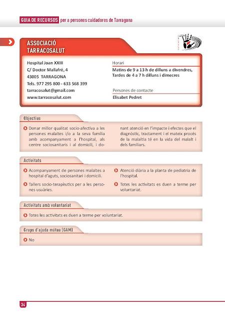 Xarxa de Suport a les Famílies Cuidadores de Tarragona: Associació Tarracosalut