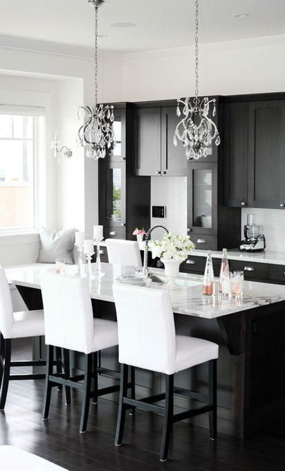stylish black and white kitchen design