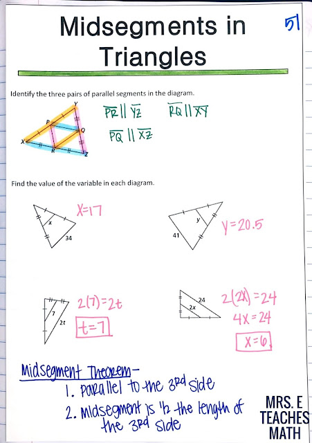 midsegments in triangles interactive notebook page