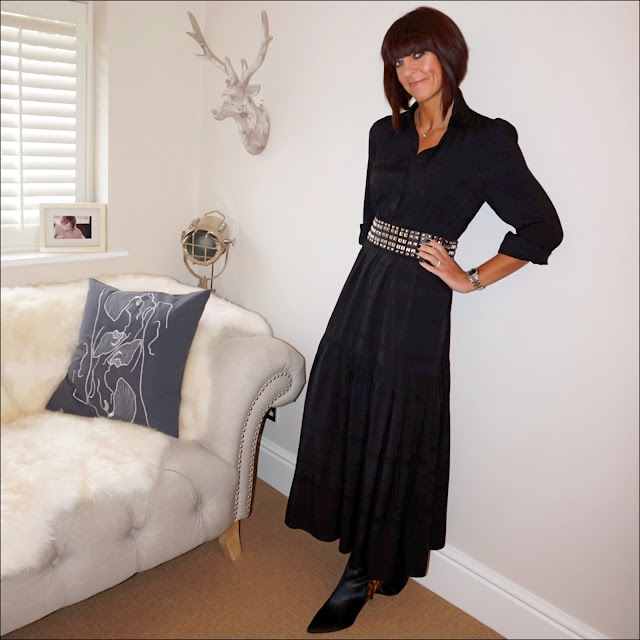my midlife fashion, and other stories maxi shirt dress, zara wide studded belt, marks and spencer kitten heel leopard print ankle boot