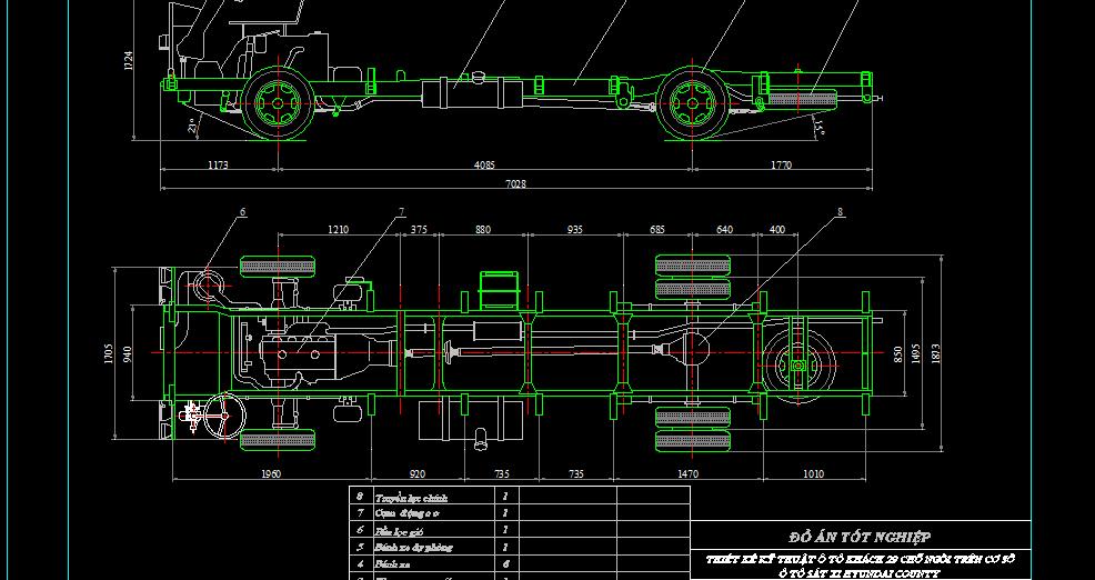 Bản vẽ thiết kế kỹ thuật ôtô khách 29 chỗ ngồi