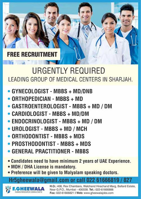 Doctors Wanted for Leading Group of Medical Center in Sharjah, UAE