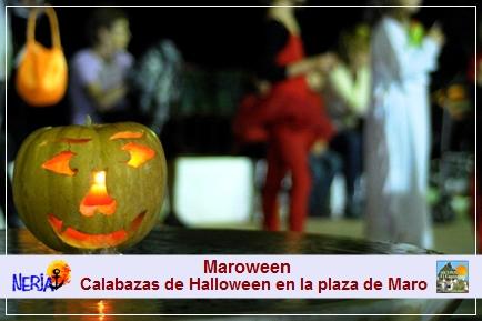 La plaza de Maro se adorna para la ocasión con las  típicas calabazas de Halloween