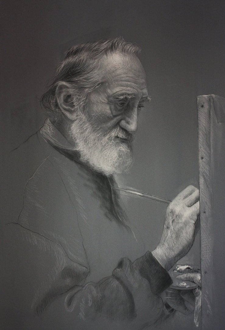 07-El-Maestro-en-su-Estudio-Drawings of Fictional Characters in Pastel on Wooden Canvas