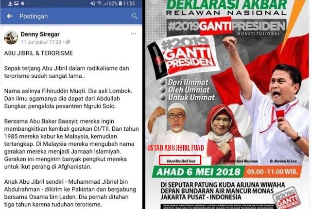 Pusat Hoax! Pendukung Jokowi Denny Siregar FITNAH Gerakan #2019GantiPresiden Dengan TERORISME, Ini Klarifikasi Keluarga