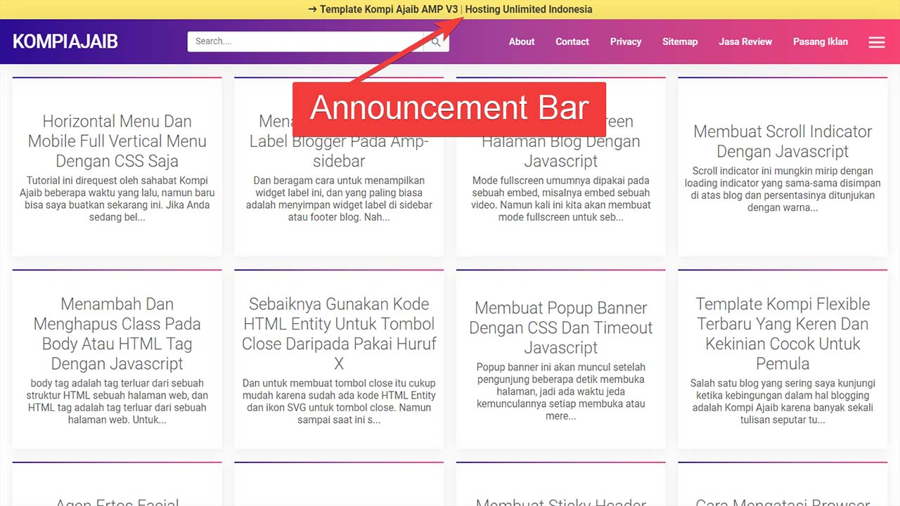 Membuat Announcement Bar Dengan Header Sticky