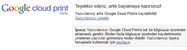 Google Cloud Print yazıcı kaydetme