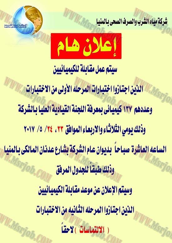 اسماء المقبولين بوظائف شركة مياه الشرب والصرف الصحى بالمنيا 10 / 5 / 2017