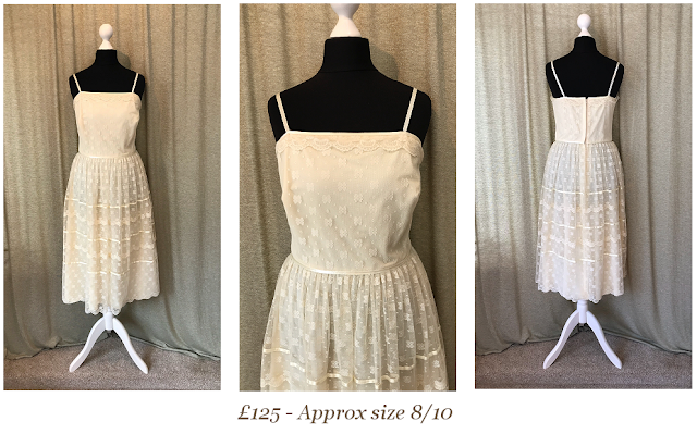 1960s cream short tea length simple lace vintage wedding available from vintage lane bridal boutique bolton manchester