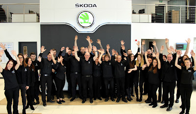 skoda team celebrating