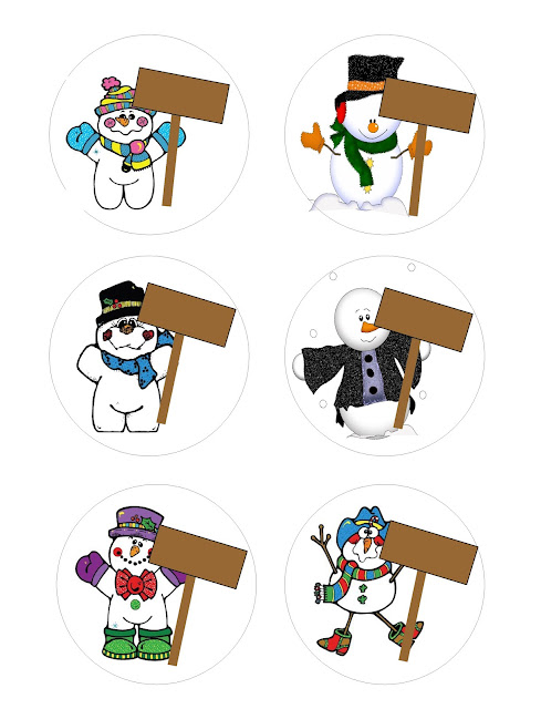 Create unlimited projects with these cute snowmen.  You can use any of the six snowmen to create fun, personalized stickers for your winter parties.