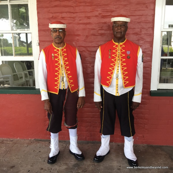 sentries in the Zouave uniform at the Main Guard House and Clock Tower at The Garrison in Barbabos