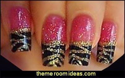 themed animal print nail designs - animal themed nail art - wild animal nail art - animal print nail decals - tiger nail stickers - leopard nail stickers -   Jungle Animals Nail Art Sticker Decals