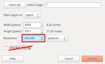 GIMP import PDF
