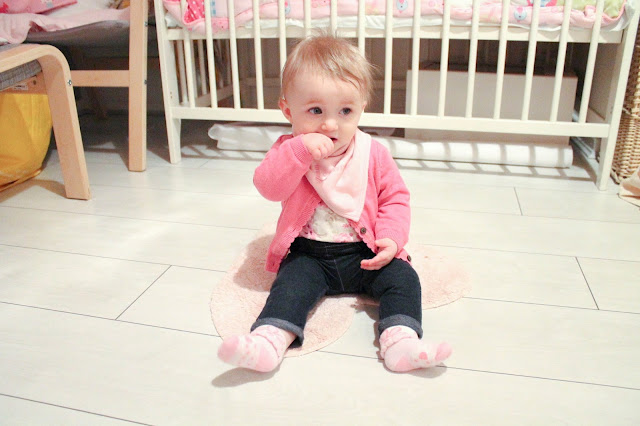 baby jeggings pinky cardy and floral vest