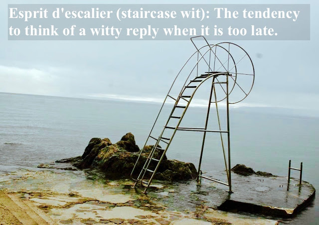 Metal staircase at the ocean leading nowhere. Esprit d'escalier, staircase wit, the tendency to think of a witty reply when it is too late, and other stories of something to say. marchmatron.com