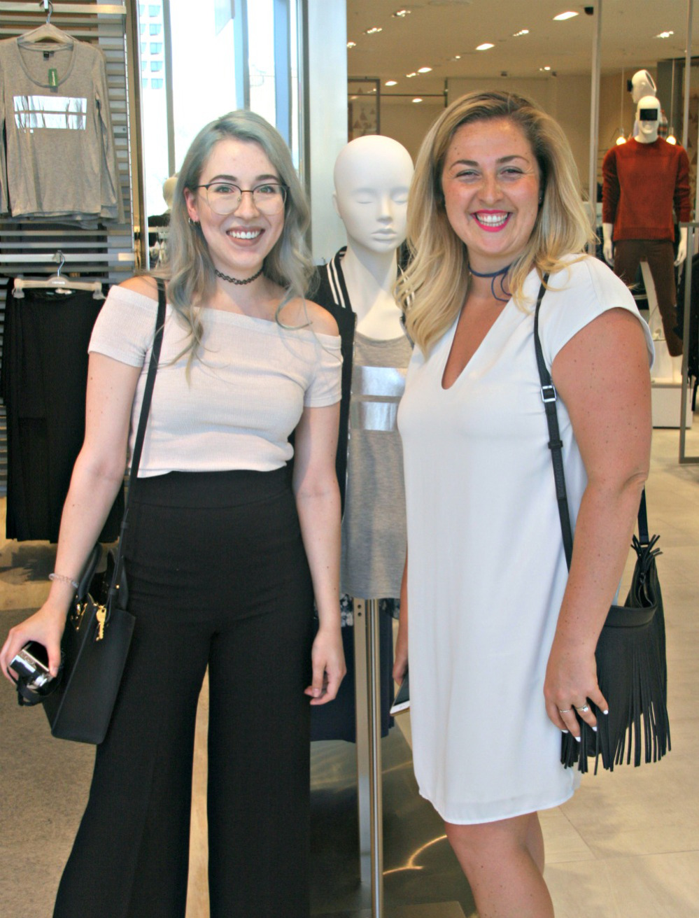 Chloe xochloegordon and Chantal Chantsy at Simons Ottawa