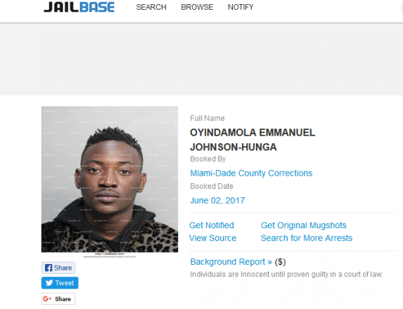 Singer, Dammy Krane Reportedly Arrested In US For Grand Theft, Other Crimes (See His Mug Shot)