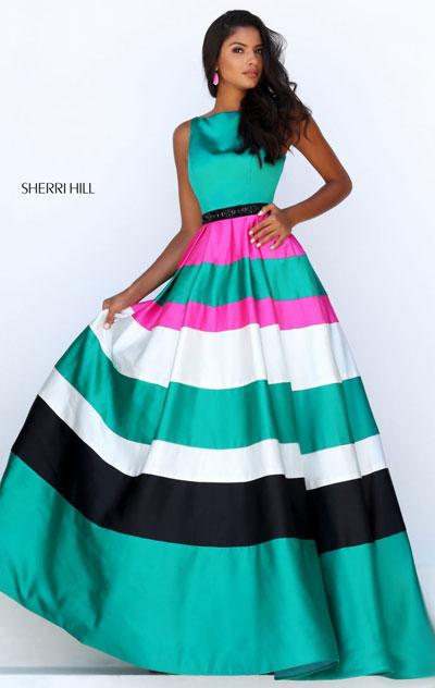 2018 Plus Size Prom Dresses Sherri Hill 50332 Emeraldblackfuchsia