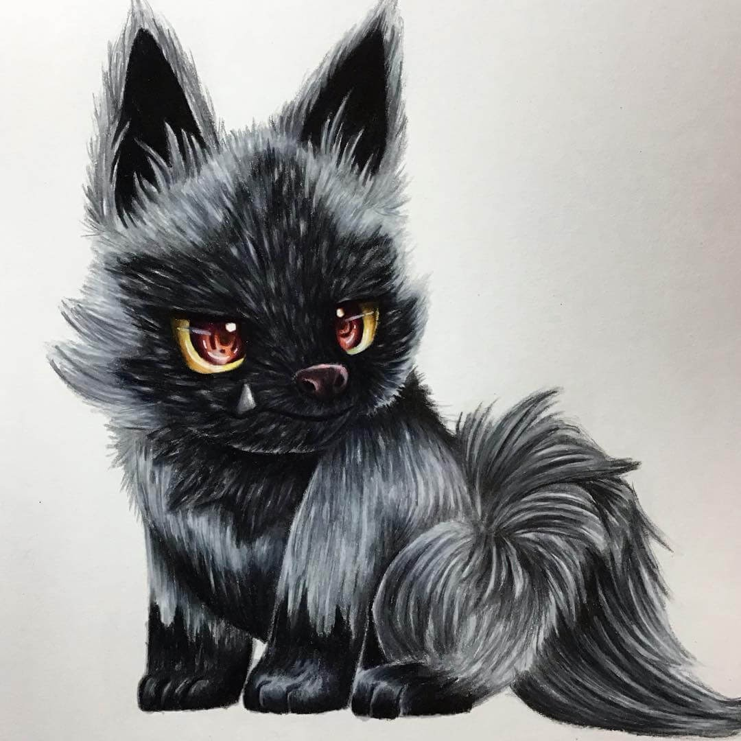 08-Poochyena-Estefani-Barbosa-Fantasy-Animals-in-Pencil-Drawings-www-designstack-co