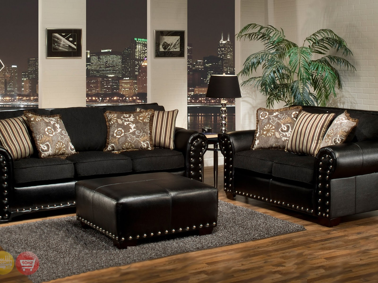 black living room set