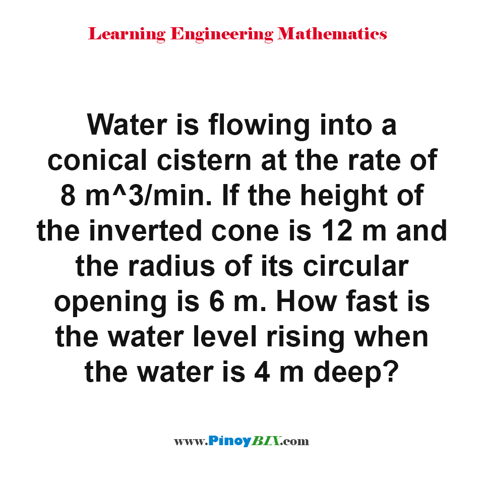How fast is the water level rising when the water is 4 m deep?