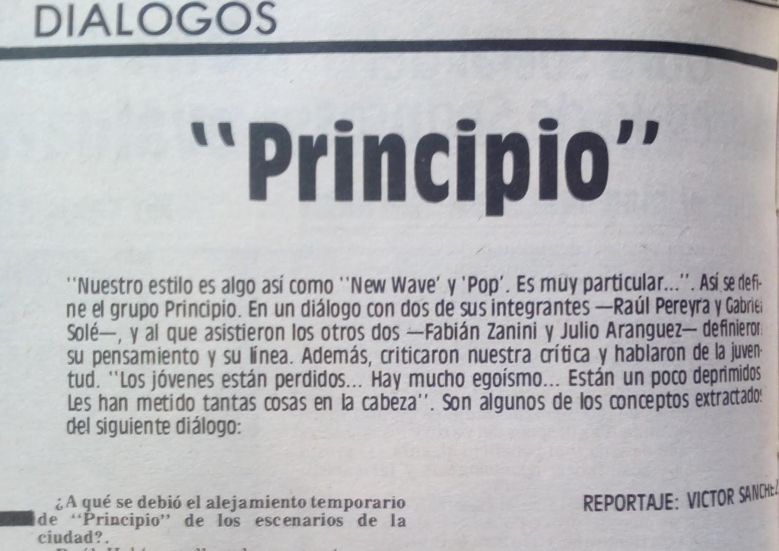 Proyecto Rock Río Cuarto: Reportaje al grupo Principio - Puntal 1985