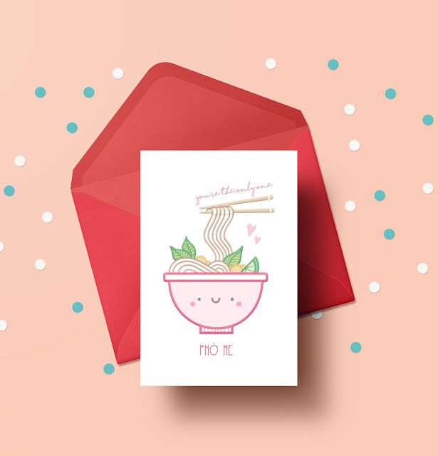 Food-Themed Valentine's Day Cards -- Pho