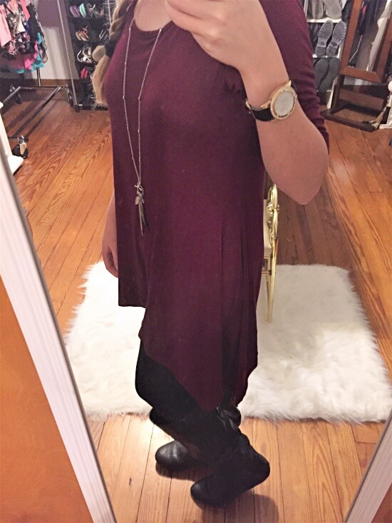 burgundy sharkbite shirt dress outfit of the day