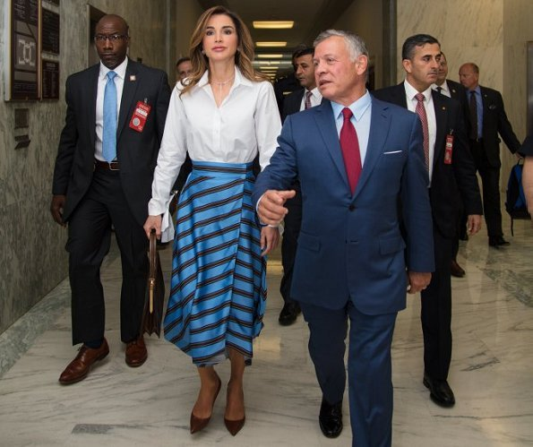 Queen Rania wore a striped satin wrap midi skirt by FENDI. Queen Rania attended a meeting with House Foreign Affairs Committee Chairman Ed Royce