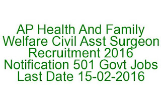 AP Health And Family Welfare Civil Asst Surgeon Recruitment 2016 Notification 501 Govt Jobs Last Date: 15-02-2016
