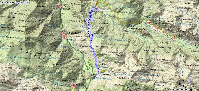 Mapa de la ruta Braña Mumián