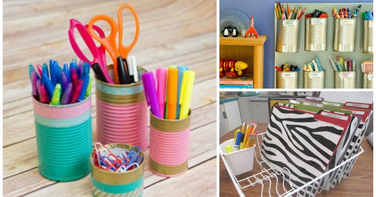 10 maneras de c mo organizar cuadernos y l pices en tu - Colores para reciclar ...