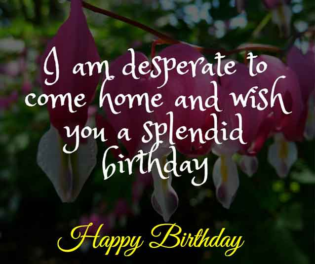 I am desperate to come home and wish you a splendid birthday. HBD honey.