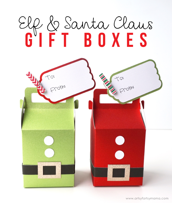 Make some jolly Elf and Santa Claus holiday gift boxes with the Cricut Maker to hold lots of Christmas goodies! #CricutMade #CricutHoliday