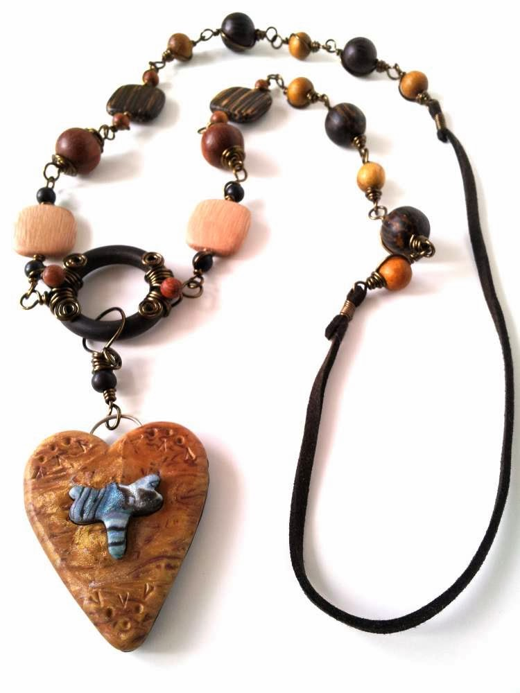 The Creative Continuum of 7 Artists - featuring Monique Urquhart: In the Woods: ooak necklace, polymer clay, wood beads, wire wrapping :: All Pretty Things