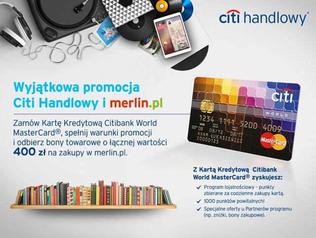 Załóż World MasterCard - otrzymasz 400 zł od Citibanku na zakupy w merlin.pl
