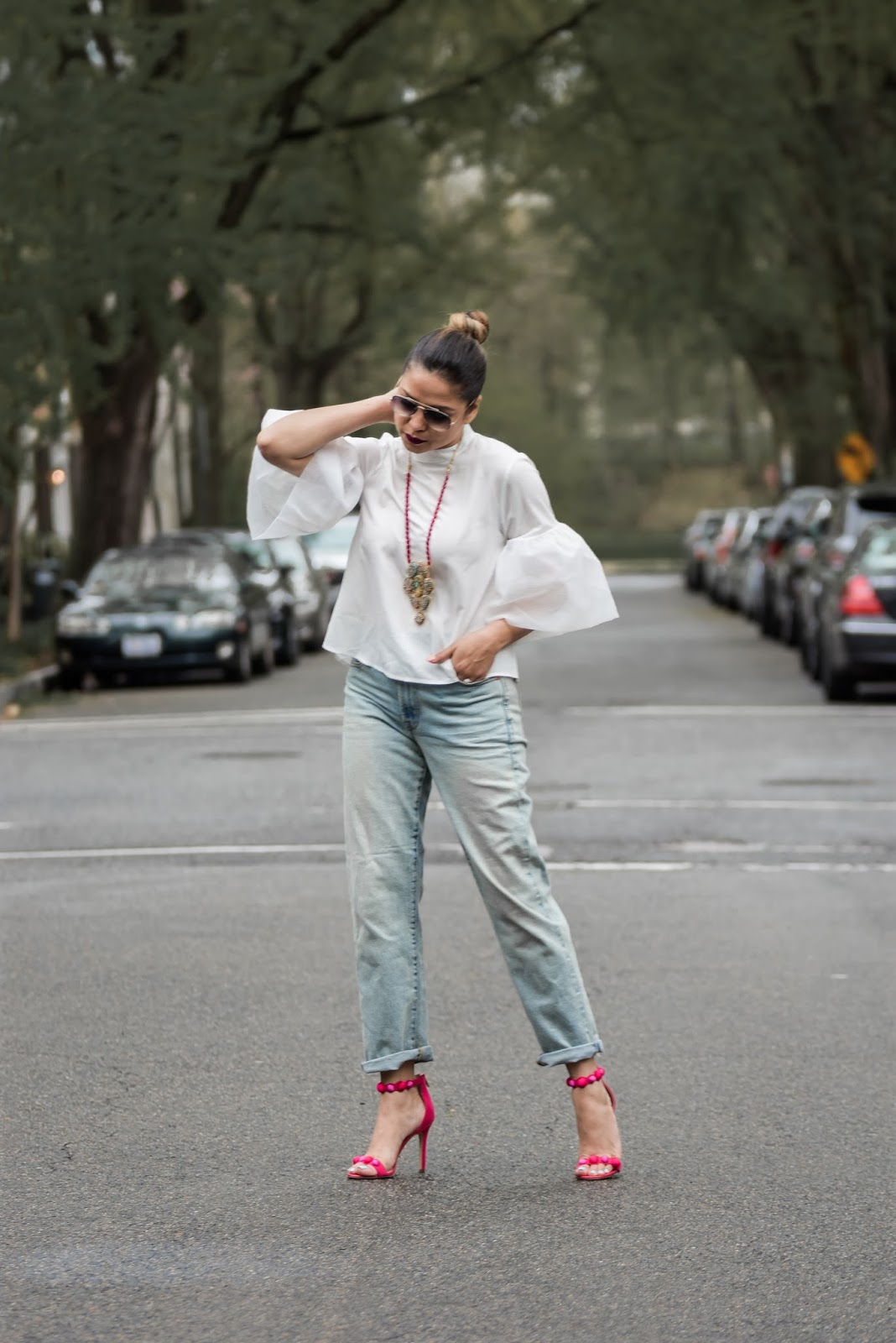 how to be that kickass mom, mom life, target white organza top, sam edelman addison heels, valentino bag, street style, casual look, dcblogger, myriad musings