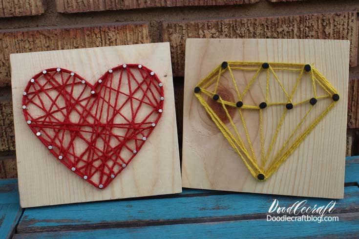 Doodlecraft Easy String Art Tutorial Heart Diamond Templates