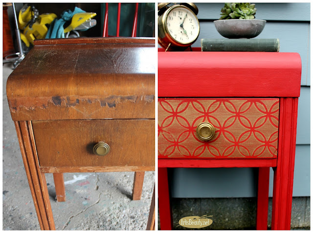 before and after glitz and glam red nightstand boho chic makeover diy stenciled