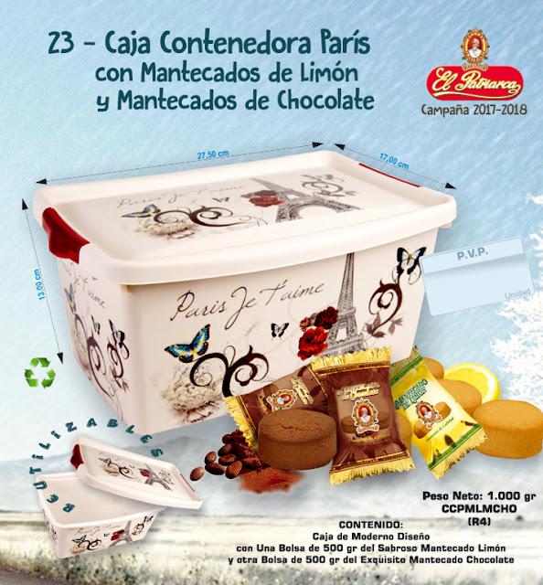 Caja contenedora París con Mantecados de Limón y Mantecados de Chocolate El Patriarca 1000 g - Comercial H. Martín sa