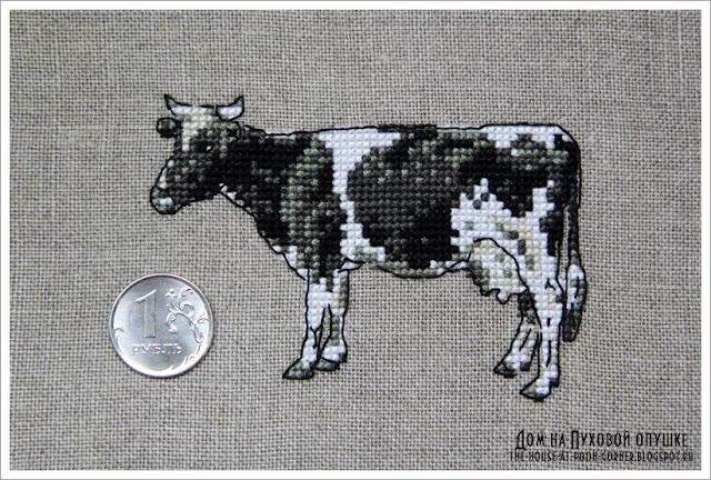 Вышивка миниатюрной коровки DFEA