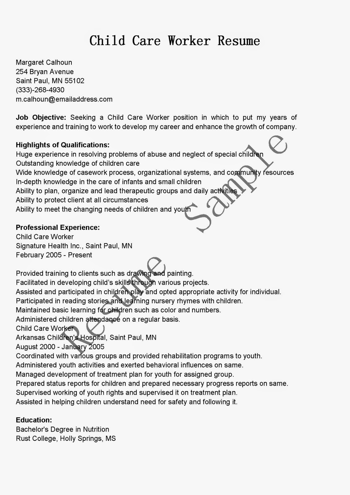 Resume samples child care worker resume sample for Sample resume for personal care worker
