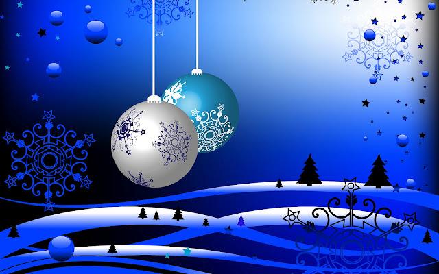 Blauwe kerst achtergrond met kerstballen in 3D