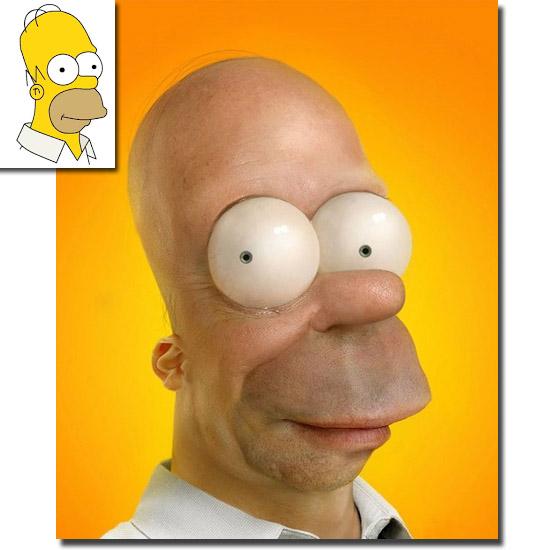 Personagens de desenhos como se fossem de carne e osso - Homer Simpson