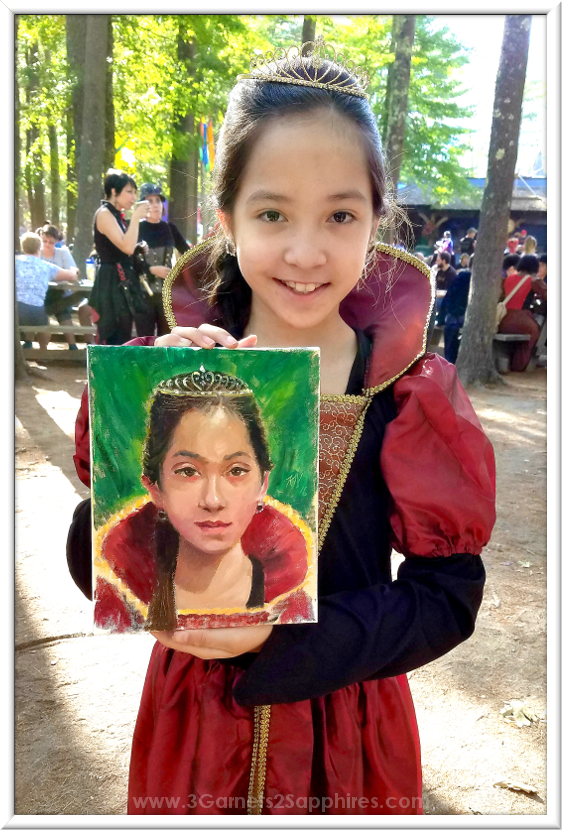 Portrait Painted By Talented Artist at King Richard's Faire  |  3 Garnets & 2 Sapphires
