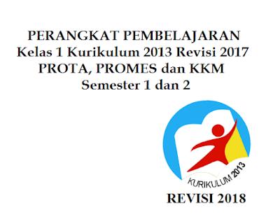 Prota, Promes dan KKM SD/MI Kelas 1 K13 Revisi 2017 Semester 1 dan 2
